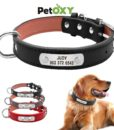 PU Leather Dog Collar Durable Personalized Pet ID